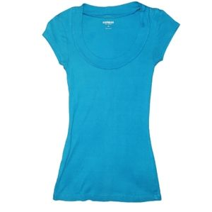 EUC Express Sexy Basics Fitted Bright Blue Top
